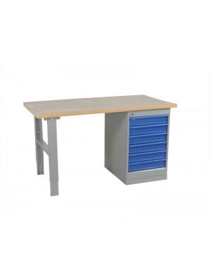 Arbetsbord med hurts 6 lådor 1600mm Stålskiva