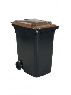 Avfallskärl 360 L, brunt lock